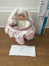 Anne Geddes Baby Bunny Doll In A Basket Soft Plush Toy