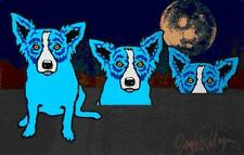 """Blue Dog George Rodrigue  """"Blues Are Pulling Me Down With Moon""""   MAKE OFFER DSS"""