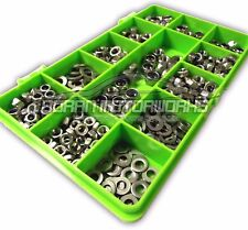 300 ASSORTED PIECE A2 STAINLESS M4 M5 M6 NYLOC, FULL NUTS & FORM A WASHERS KIT