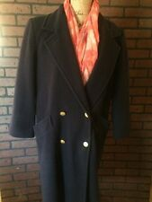 Women's Vintage 70s Forcaster Of Boston Blue 100%Wool Full Length Coat Size 5/6