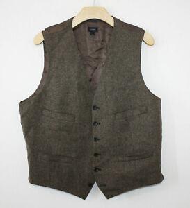 J. Crew Ludlow Moon Tweed Wool Vest Waistcoat Brown Harvest Herringbone Large