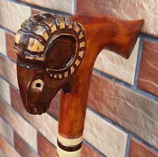 RAM AXE Cane Walking Stick Wooden Handmade Wood Carving Exclusive Folk Art...