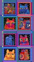 Feline Frolic Laurel Burch SQUARES PANEL 8 Blocks w Gold Metallic Fabric 2/3 YD