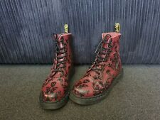 DR MARTEN Skull Damask Ox Blood Red Boots Sz 5