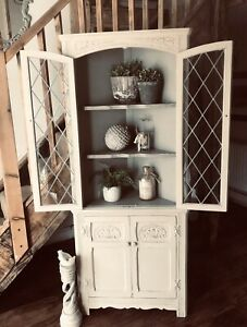 Shabby Chic Vintage Corner Cabinet Hand Painted In Annie Sloan