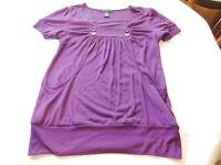 Sixteen ladies womens L large short sleeve shirt top with pockets Purple EUC*