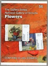 2011 STAMP BOOKLET FLOWERS - NATIONAL GALLERY OF VICTORIA 10 x 60c STAMPS MUH