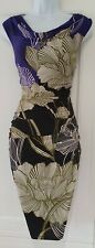 Womens Phase Eight Purple Olive Green Floral Draped Ruched Stretch Wiggle Dress8