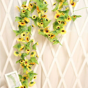 Artifical Hanging Fake Sunflowers Ivy Vine Garland Plant Wedding Home Decoration