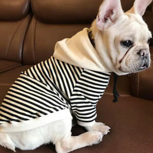 Pet Dog Cat French Bulldog Clothing T-Shirt Striped Puppy Hoodie Coat Clothes QN