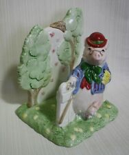 "Vintage Fitz & Floyd ""Bacon and Eggs"" Pig Ceramic Napkin Holder 1987"