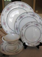 5Pc Place Setting Wedgwood China Charlotte Blue Gold Trim Dinner Plate Salad Cup