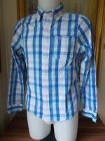 Chemise coton épais à carreaux bleu et blanc HOLLISTER M brodé manches longues