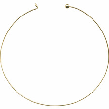 """Add-A-Bead Rigid 1.4mm Gold Plated 15"""" Hooked Neckwire Choker Collar Necklace"""