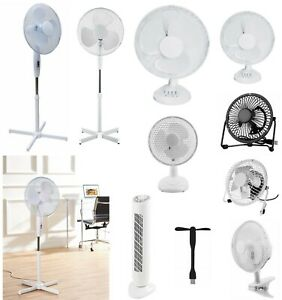 Cooling Fan Pedestal Oscillating Stand Desk Electric Tower Standing USB Fans New