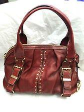 "MICHAEL KORS Uptown Astor Red Bordeaux Leather Studded Satchel 15""x 10""x 5"""