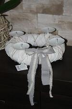 ''Ring'' Shabby Chic Vintage Retro Style White candle holder