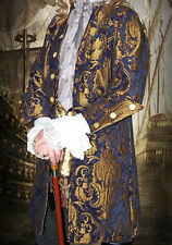 MEN RENAISSANCE NAVY BROCADE CHENILLE REGAL PIRATE VAMPIRE JACKET COAT ALL SIZES