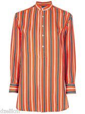 NWT $598 Ralph Lauren Black Label Silk Striped Blouse Popover Shirt Size 6