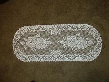 """New White lace  Roses design Runner/Dresser scarf  14"""" x 36"""""""