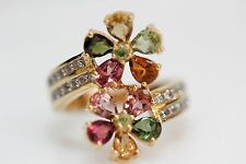 .925 Yellow Vermiel / Multicolor Tourmaline / White Topaz Flower Ring .