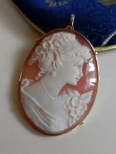 shell cameo pendant in gold plated setting