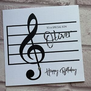 PERSONALISED Handmade BIRTHDAY CARD  Music SON DAD BROTHER GRANDAD