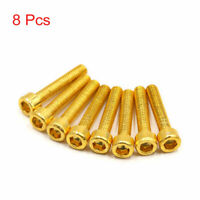 8 Pcs Gold Tone Metal 6mm Thread Dia Hexagon Bolts Screws for Motorcycle