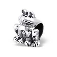 925 Argento Sterling seduta Animale Rana Pet Bracciale Charm Bead scatola regalo B202