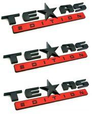 *THREE* BLACK/RED TEXAS EDITION EMBLEM CHEVY SILVERADO GMC SIERRA TRUCK DECAL.
