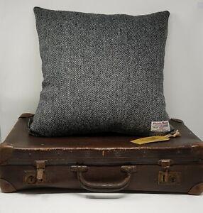 BLACK GREY Herringbone Harris Tweed genuine handmade cushion Cover all sizes