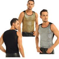 Mens Shiny Metallic Sequins Tank Tops Vest Glitter Muscle Shirt Punk Nightclub