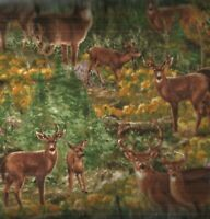Deer in the Woods spring green  deer wildlife Timeless Treasures flannel fabric