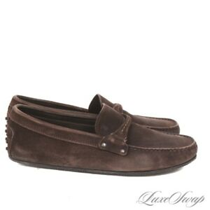 Tods Made in Italy Dark Espresso Suede Gommini Bit Driving Loafers Shoes 9.5 NR