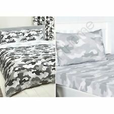 Army Camouflage Grey Double Duvet Cover Set + Fitted Sheet + 4 Pillowcases