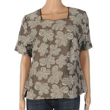 Linen Short Sleeve Regular Floral Tops & Shirts for Women