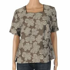 Linen Casual Floral Regular Size Tops & Shirts for Women