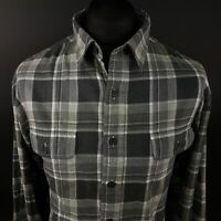 Polo Ralph Lauren Mens THICK Shirt 2XL Long Sleeve Grey Regular Fit Check Cotton