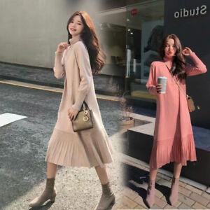 New Women Turtleneck Sweater Dress Long Sleeve Korean Knitted Pleated Dresses