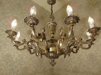 antik  grosser 10 fl  Kronleuchter Lüster Deckenlampe Bronze Silber  ca.1920