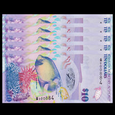 Lot 5 PCS, Bermuda 10 Dollars, 2009, P-59, Onion prefix, banknote, UNC