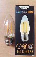 2 x 2w LED Clear Candle Filament Light Bulbs Lamp ES Screw In E27 25w Cheap!