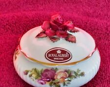 ROYAL ALBERT-FINE WHITE BONE CHINA SMALL RING DISH-OLD COUNTRY ROSE PATTERN