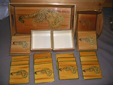 Party Tray Set with Leopard art work. 2 Trays and 2 Sets of Coasters