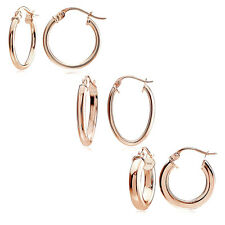Rose Gold Flash Silver Polished Round Square-Tube & Oval Hoop Earrings, Set of 3