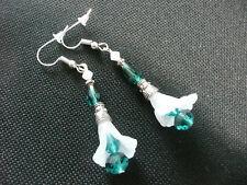 Vintage Art Deco Style Crystal & Lucite Flower Long Earrings Not On High St