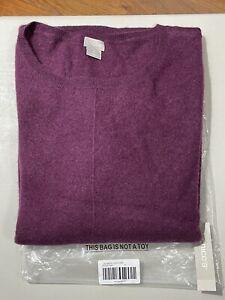 Chicos Women's Cashmere Curve Hem Sweater Eggplant Size XL