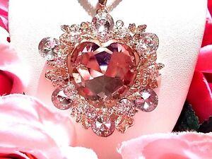 Betsey Johnson Beautiful Pink Crystal Garland Heart Long Chain Pendant Necklace