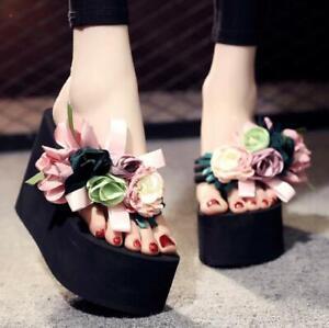 Womens shoes slippers Flower Decor Platform High Wedge Heel Flip Flops Slippers
