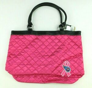 NFL Football Womens Purse Pink Tennessee Titans Quilted Tote With Magnet Close
